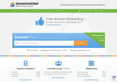Website screenshot Domeinwinkel