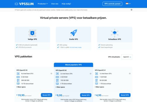 Website screenshot VPSslim internet solutions