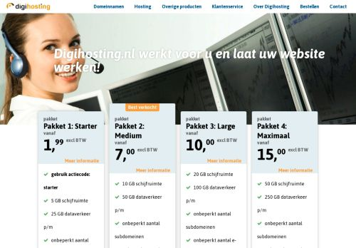 Website screenshot Digihosting