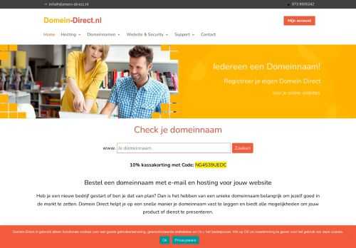 Website screenshot Domein-direct.nl