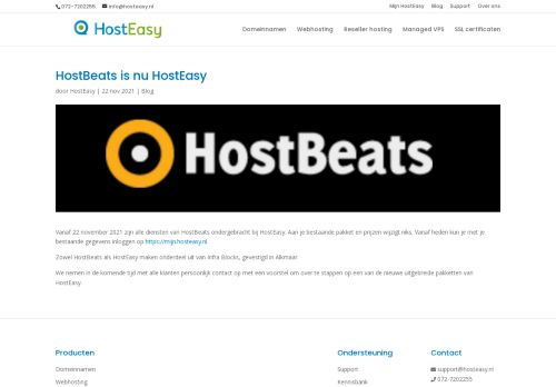 Website screenshot HostBeats
