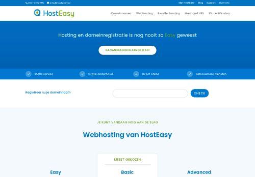 Website screenshot Hosteasy