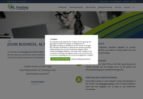Website screenshot iXL Hosting B.V.