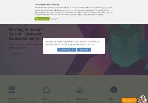 Website screenshot LeaseWeb