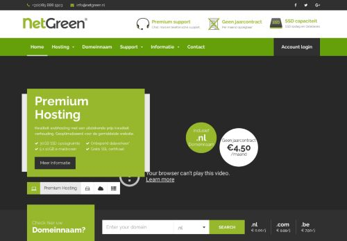 Website screenshot Netgreen